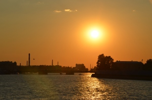 Sunset over River Neva
