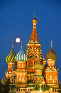 St. Basil Church  with full moon (it's actually a museum and not a church any more)