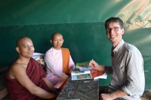 Silvan teaching a nun and a monk English